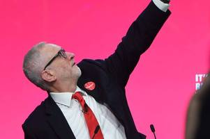 labour party leader jeremy corbyn during the launch of his party's manifesto in birmingham.