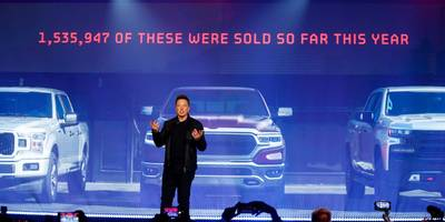elon musk took shots at ford's f-150 and other automakers during tesla's cybertruck reveal (tsla, f)