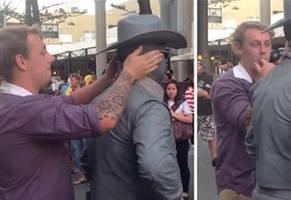 Street Performer Clocks Smug Man who Keeps Touching Him