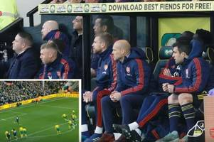 what freddie ljungberg and sokratis did after aubameyang's penalty miss against norwich