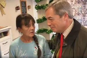 Nigel Farage gets caught up in the 'cob vs bap' debate on a visit to Notts