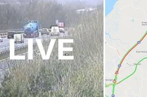 m5 traffic live: delays on somerset motorway of 45 minutes as car overturns