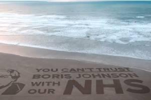 anti-boris johnson film shot by nhs staff on devon beach