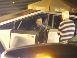 elon musk appears to have mowed down a traffic sign in tesla's new cybertruck over the weekend (tsla)