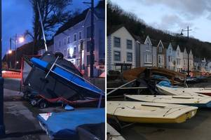 strong winds from storm atiyah overturned and damaged boats on the prom in mumbles