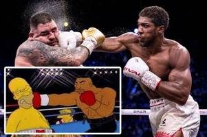 anthony joshua punch on andy ruiz predicted by the simpsons in wild fan theory