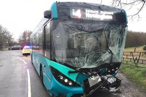 Live updates as bus and car crash in Derbyshire village