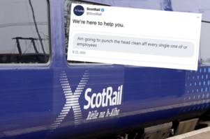scotrail passenger threatens to 'punch the head clean aff' every employee