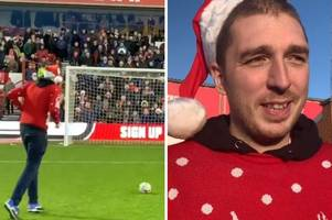 LadBaby takes on crossbar challenge at Nottingham Forest's City Ground to raise awareness of new charity Christmas song