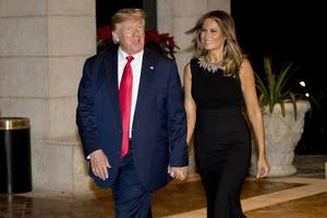 donald trump and wife attend christmas eve service in florida