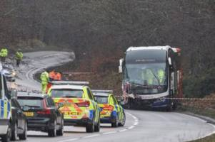 one feared dead after horror smash between bus and car on moray road