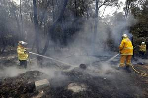 one firefighter killed as australian bushfires rip through four states