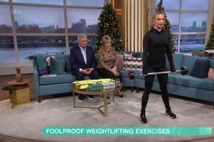 eamonn holmes left red-faced as chloe madeley squats in his face on this morning