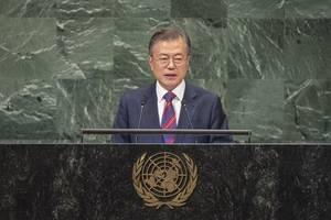 s. korean president vows to build peace community on korean peninsula
