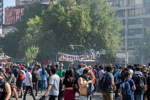 thousands march in santiago, chile, against austerity on new year's day