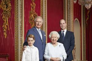 new royal family portraits show the queen alongside three heirs prince charles. william and george