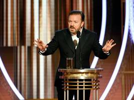 golden globes host ricky gervais roasted apple for its 'chinese sweatshops' in front of hordes of celebrities as tim cook watched from the audience