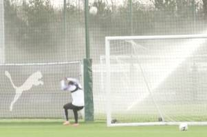 raheem sterling jokes 'but i always dive' after man city team-mate hits him on the head in training