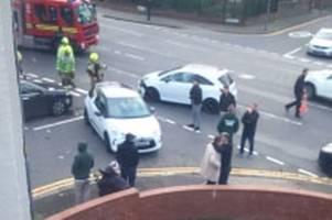 three car collision causes traffic disruption on hagley road in birmingham