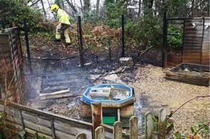 suspected arson attack wrecks primary school playhouse in bordon