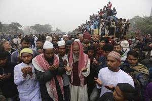 muslims pray for peace in islamic congregation in bangladesh
