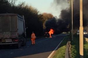 a10 traffic: drivers warned to avoid road near puckeridge as car catches fire