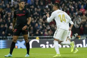 real pull ahead as casemiro double downs sevilla