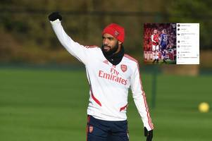 alexandre lacazette 'likes' picture of transfer target wearing arsenal shirt after 'deal agreed'