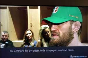 bt sport apologise to fans after conor mcgregor swears live on air after ufc 246 win
