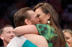conor mcgregor and girlfriend dee devlin embrace after emphatic ufc 246 win over cowboy