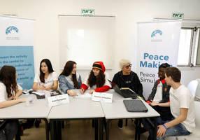 israeli, palestinian and international students simulate peace talks