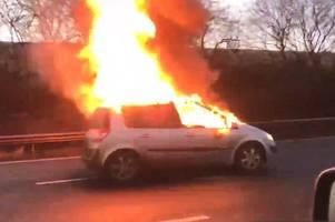dramatic footage shows flames engulf car on m3 near m25