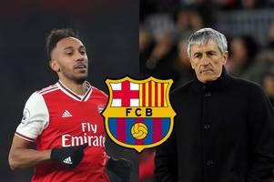 quique setien's response as barcelona open 'talks' over pierre-emerick aubameyang loan move