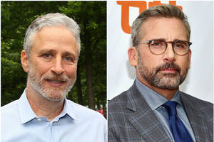jon stewart's 'irresistible' with steve carell to hit theaters this may