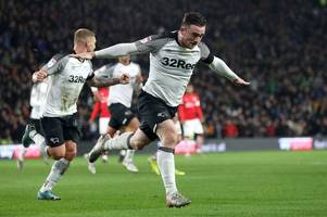 why derby county striker was at peterborough united's game last night