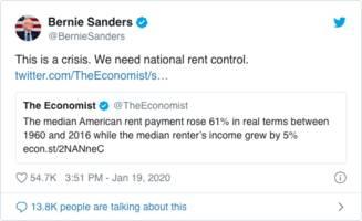 bernie sanders tweets blueprint for a housing crisis – oped