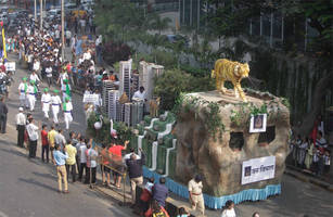 mumbai: mounted police unit, tableaux part of republic day parade in dadar