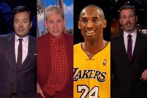 jimmy kimmel, ellen degeneres, and more talk show hosts give emotional tributes to kobe bryant (videos)