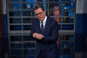 stephen colbert sifts 'through the logical turd' that was alan dershowitz's trump defense (video)