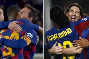 lionel messi echoing barcelona legend ronaldinho in ansu fati celebration