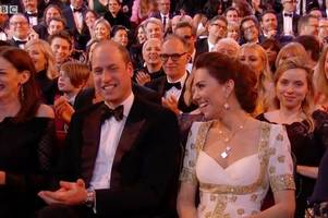 bafta: prince william and kate's reaction to brad pitt's prince harry joke