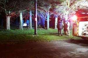 police rush in after arson attack at playing field