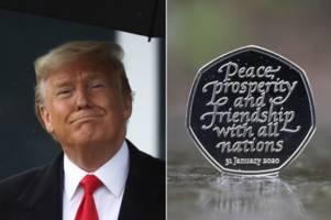 donald trump has a brexit 50p coin