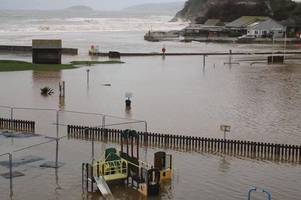 Seaton beach, play park and car park left submerged in water ahead of Storm Dennis