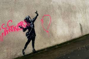 Banksy Valentine's Day mural in Bristol vandalised with 'w*****s' message