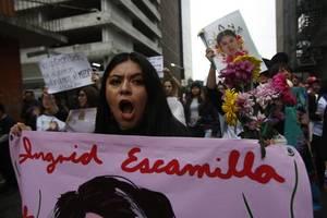 ingrid escamilla: hundreds protest against woman's brutal murder