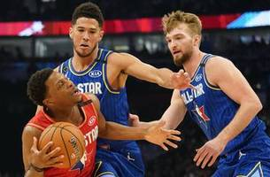 sabonis scores two points in all-star debut as team lebron defeats team giannis 157-155