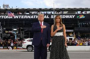 president donald trump attends 2020 daytona 500 as grand marshal   full video