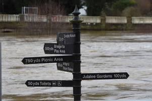 rising flood water around the midlands after storm dennis.