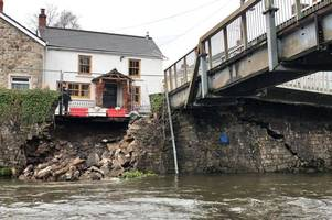 historic bridge in welsh town 'collapses' after storm dennis
